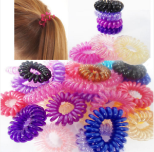 10 Spiral Plastic Hair Bands Clear Girls Ponytail Stretchy Elastic Bobbles Band