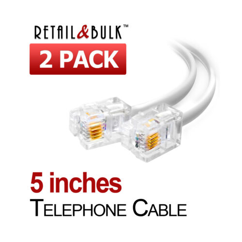 6P4C 5in Phone Line Cord 2 Pack 5 Inch Short Telephone Cable RJ11