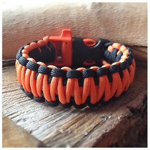 Image Is Loading Paracord Survival Bracelet Bear Grylls Inspired Black Amp