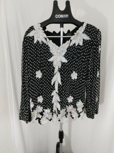 Vintage 80's Jewel Queen Black and White Sequined