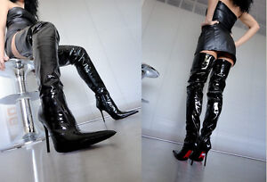 Cq Black Stiefel Leather Patent Boots Custom Overknee Noir 44 Couture Bottes HU8qHrSn