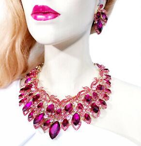 Choker-Bib-Necklace-Earring-Set-Rhinestone-Crystal-Hot-Pink
