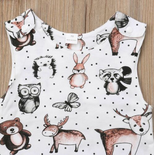 O-neck Collar Type Sleeveless Infants Baby Overall Cartoon Pattern Jumpsuits New