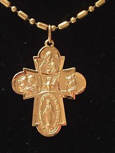 Four Way Medal Gothic Cross Pendant 14k Yellow Gold 29x23