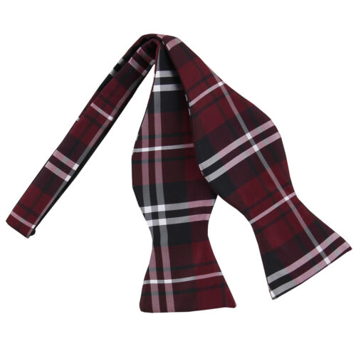 New men/'s self tie free style bow tie plaid /& checkers formal wedding burgundy