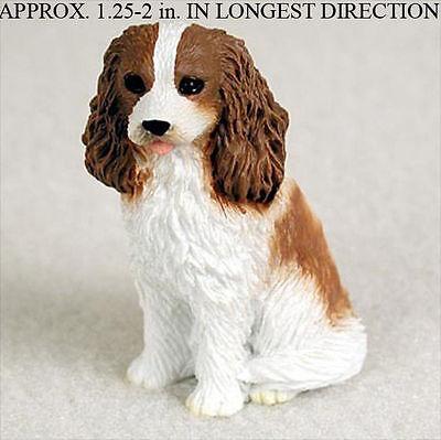Cavalier King Charles Mini Resin Dog Figurine Statue Hand Painted Brown/White