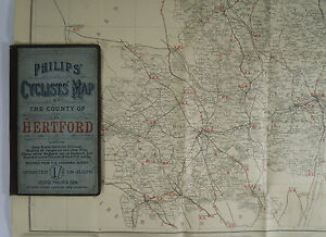 c-1890-old-antique-Philips-039-cyclists-039-map-of-the-county-of-Hertford