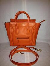 CELINE Orange Calfskin Leather Nano Luggage Hand Crossbody Tote Bag