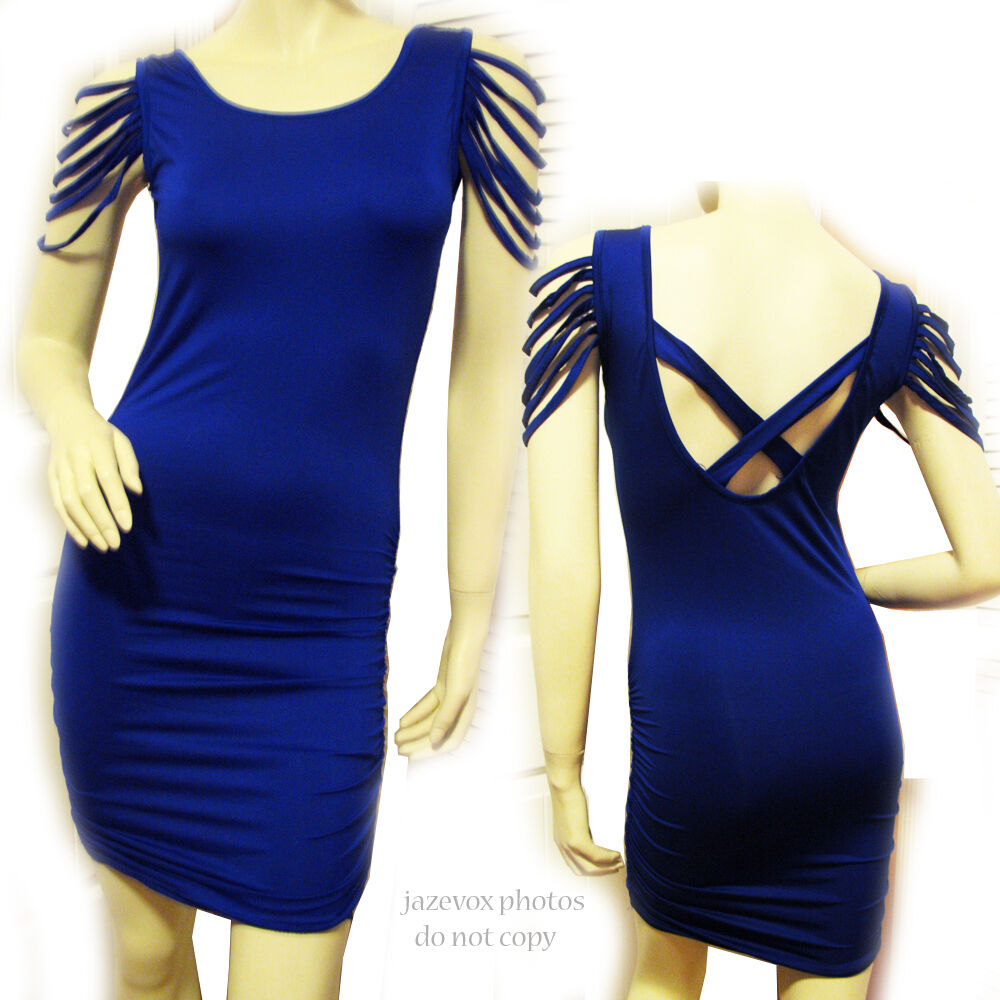 New Dark Royal Blau Strappy Cap Sleeve Mini Sheath Bodycon Dress Party Dresses S