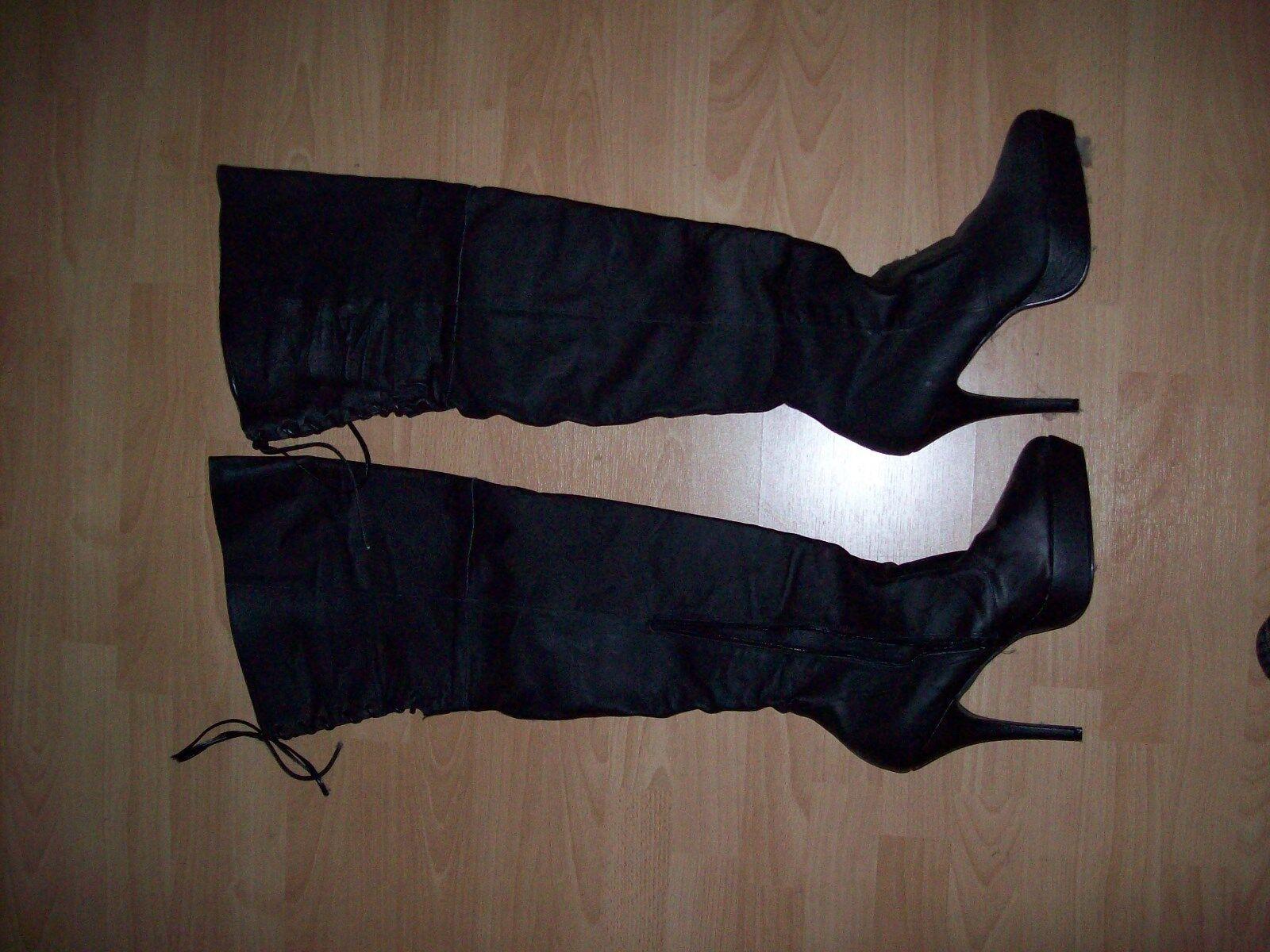 Billig Qualität gute Qualität Billig Leder Overknee Stiefel Gr.44 7193dd
