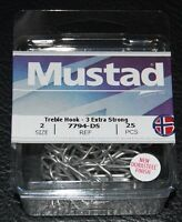 25 Pack Mustad 7794-ds Size 2 Durasteel Saltwater 3x Treble Hooks 7794ds-02