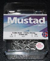 25 Pack Mustad 7794-ds Size 2 Durasteel Saltwater 3x Treble Hooks 7794ds-02
