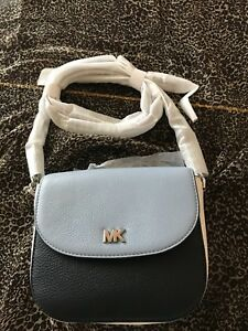 e2c7c1a6e5b594 NWT MICHAEL Michael Kors Half Dome Crossbody Pale Blue /Navy/white ...