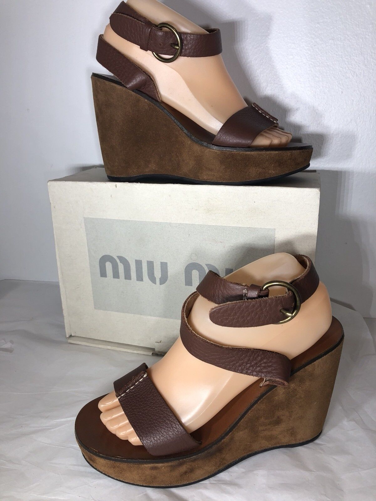 MIU MIU Size 38.5 Brown Pelle Ankle Strap Wedge Sandals -Italy
