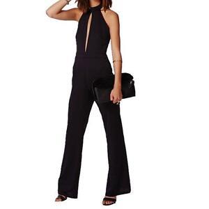 uk 4 Neck Halter larga Miss Selfridge Gamba Jumpsuit Black 16 Catsuit XRR86WA