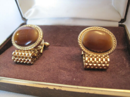 """Brown Glass Removable Mesh Chain Avon /""""Convertible/"""" Cufflinks New Old Stock"""