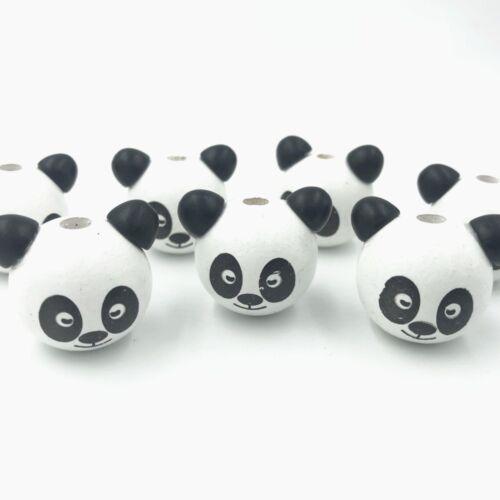 DIY 5pcs Wooden Round panda Loose Beads Beaded Baby Pacifier Clip making