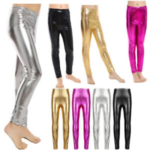 00030e808a3 Image is loading Kids-Girls-Shiny-Metallic-Skinny-Long-Pants-Leggings-