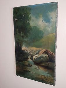 """19th CENTURY dipinto ad olio su tela """"River"""", firmata da un H Simpson"""