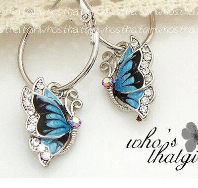 Butterfly 1Pair Blue Crystal Rhinestone Enamel Dangle Hoop Earrings GIFT WOMEN