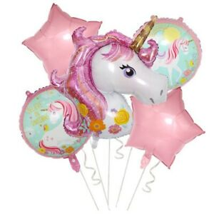 5Pc-Set-Pink-Gaint-Unicorn-Foil-Balloons-Baby-Shower-Kids-Birthday-Party-Decor