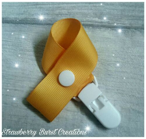 Dummy Clip//Saver Handmade Solid Light Mustard//White *MAM adapters available*