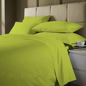 Image Is Loading Plain Dyed Lime Green Fitted Flat Bed Sheet