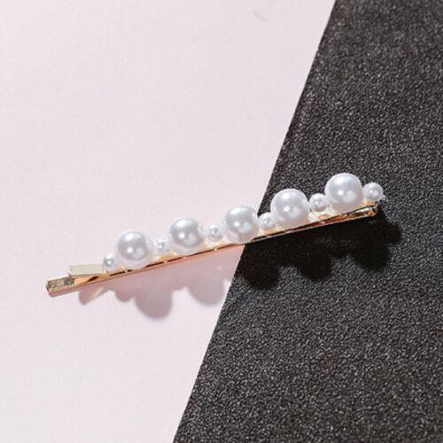 Mode Femme Perle Pince Cheveux Snap Barrette Bâton Épingle Accessoires Cadeau
