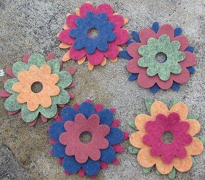 15 Wool Blend Die Cut Applique Flowers - Winter Peacock