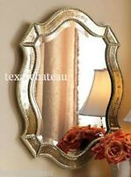 LARGE ANTIQUE GOLD & SILVER VENETIAN ARCHED WALL MIRROR ARCH SHABBY FRENCH CHIC
