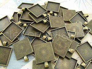 "10 Qty - 1"" Square Pendant Trays - Antique Bronze Color - Craft 25mm 1 inch"
