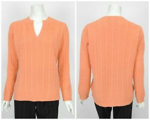 Womens-Peter-Hahn-100-Cashmere-Sweater-Jumper-Peach-Orange-Cable-Knit-D42-UK16