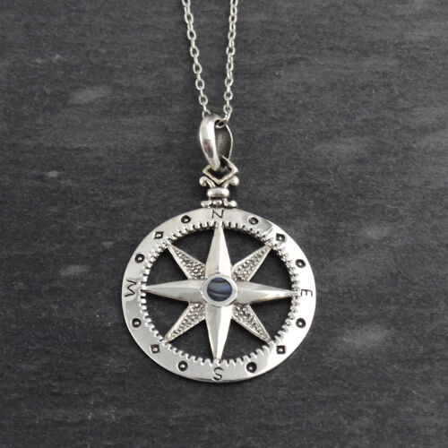 925 Sterling Silver North Star Compass Necklace Pendant Graduation Gift NEW