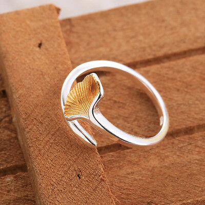 Open ring RINGS Ginkgo leaf design gold plated girls lovely beautiful