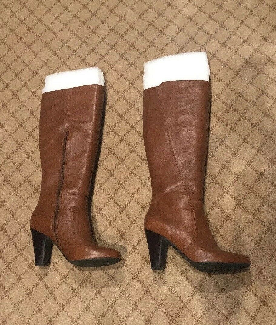 Tall Cognac Soft Leather High Heels Boots Size 9M