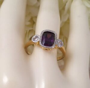 Vintage-Jewellery-Gold-Ring-Amethyst-White-Sapphires-Antique-Deco-Jewelry-sz-R
