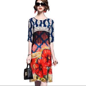 Women-Floral-Vintage-Knee-Length-Silk-3-4-Sleeve-Chic-Scoop-Neck-Casual-Sundress