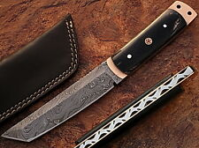 Damascus Steel Tanto Point Hunting Knife Buffalo Horn