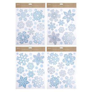 80x-Grande-Natale-Fiocco-Di-Neve-Finestrino-Adesivi-Glitter-finestra-si-aggrappa-Riutilizzabile