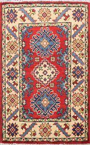 Vegetable Dye RED Super Kazak Geometric Oriental Area Rug Wool Hand-Knotted 2x3