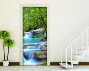 Adesivo per porta cascate nel verde decorazione rivestimento porte pellicola ebay - Decorazioni porte interne ...