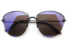 Designer Inspired Sunglasses Cut Off Metal Frame Flat Mirror Lens Women Fashion