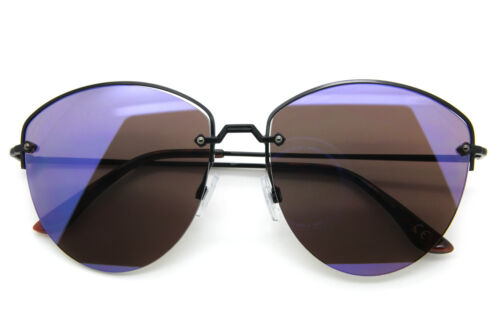 Designer Inspired Sunglasses Cut Off Metal Frame Flat Mirror Lens Women Fashion