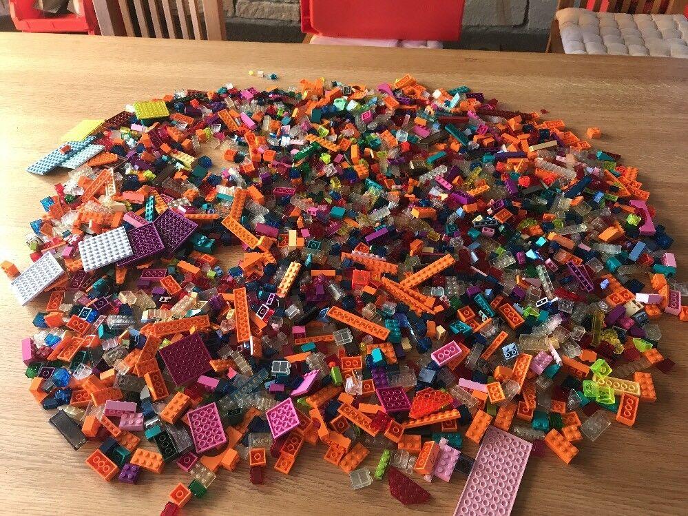 3,2 kg LEGO Konvolut Durchsichtige Orange Türkis Basics Steine