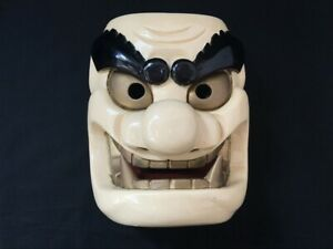 Wooden-Noh-Mask-Demon-Ogre-ONI-Hand-Carving-White-KABUKI-Japanese-Vtg-g12