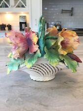 Vintage CAPODIMONTE Table Centerpiece:  Poppy Flowers in a Reticulated Basket