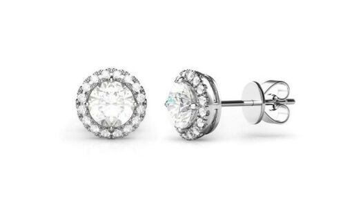 2.55 Ct Round Cut Moissanite Halo Stud Earring 14K White Gold Filled