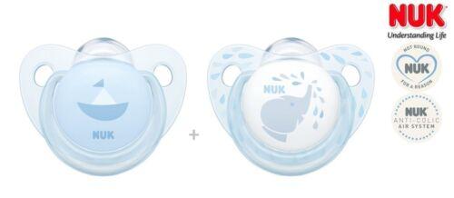 "2x Schnuller Anatomische Silikon 0-6m+ NUK Pacifier /""ROSE /& BLUE/"""