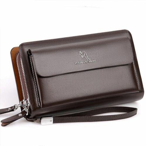 Men Clutch Bag Fashion Leather Purse Double Zipper Business Casual Handy Wallet