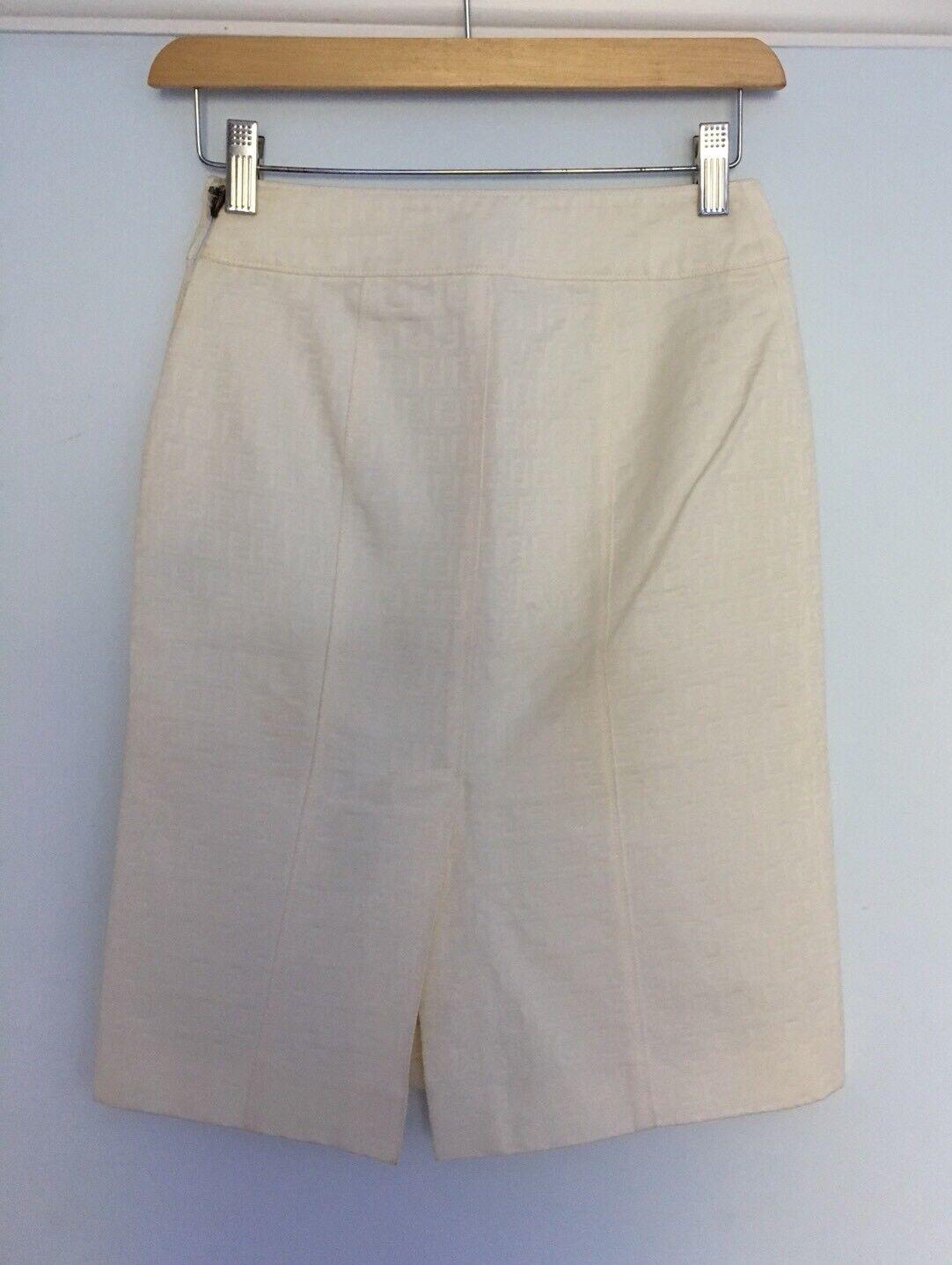 damen Fendi Skirt Cream Monogram All Over Print Zucca Pencil Skirt High Waisted